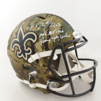 """Drew Brees Signed Saints Full-Size Camo Alternate Speed Helmet Inscribed """"NFL All Time Passing Yds Leader"""" (Beckett COA & Brees Hologram) at PristineAuction.com"""