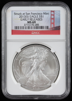 2013(S) American Silver Eagle $1 One Dollar Coin - Early Releases, Struck at San Francisco Mint (NGC MS69) at PristineAuction.com