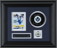 """Wendel Clark Signed Maple Leafs 10.5x12.5 Custom Framed Puck Display Inscribed """"Captain Clark"""" with Maple Leafs in & Trading Card (COJO COA) (See Description) at PristineAuction.com"""