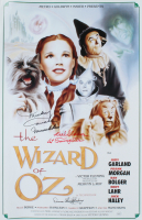 """Mickey Carroll, Karl Stover, & Donna Hardaway Signed """"The Wizard of Oz"""" 15.5x24 Poster Inscribed """"Munchkin Love"""" & """"1st Trumpeter"""" (JSA COA) at PristineAuction.com"""