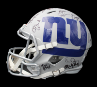 Giants Super Bowl XXI & XXV Champions Full-Size AMP Alternate Speed Helmet Team-Signed by (28) with Phil Simms, Lawrence Taylor, Jeff Hostetler, Mark Bavaro (Schwartz Sports COA) at PristineAuction.com