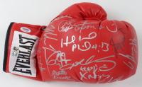 Everlast Boxing glove signed by (18) with Evander Holyfield, Mike Tyson, George Foreman, Roy Jones Jr., Jake LaMotta, Michael Moorer, Earnie Shavers, Riddick Bowe, Fernando Vargas (PSA LOA & Fiterman Sports Hologram) at PristineAuction.com