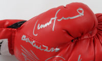 Everlast Boxing glove signed by (18) with Evander Holyfield, Mike Tyson, George Foreman, Roy Jones Jr., Jake LaMotta, Michael Moorer, Earnie Shavers, Riddick Bowe, Fernando Vargas (PSA LOA & Fiterman Sports Hologram) at PristineAuction.com