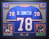 Bruce Smith Signed 35x43 Custom Framed Jersey Display (JSA COA) at PristineAuction.com
