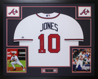 Chipper Jones Signed Braves 35x43 Custom Framed Jersey Display (Beckett COA) at PristineAuction.com