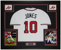 Chipper Jones Signed 35x43 Custom Framed Jersey Display (PSA COA) at PristineAuction.com
