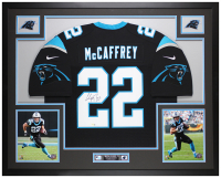 Christian McCaffrey Signed Panthers 35x43 Custom Framed Jersey Display (Fanatics Hologram) at PristineAuction.com