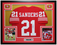 Deion Sanders Signed 35x43 Custom Framed Jersey Display (Beckett COA) at PristineAuction.com