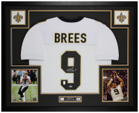 Drew Brees Signed 35x43 Custom Framed Jersey Display (Beckett COA & Brees Hologram) at PristineAuction.com