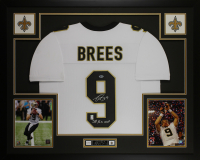 "Drew Brees Signed 35x43 Custom Framed Jersey Inscribed ""SB XLIV MVP"" Display (Beckett COA & Brees Hologram) at PristineAuction.com"