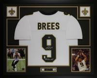 "Drew Brees Signed 35x43 Custom Framed Jersey Inscribed ""SB XLIV MVP"" Display (Beckett COA & Brees Hologram) at PristineAuction.com"