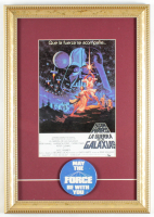 """Star Wars Episode IV: A New Hope"" 12x17 Custom Framed Foreign Photo Display with Original 1977 ""May The Force Be With You"" Pin at PristineAuction.com"