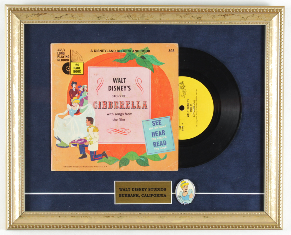 """Walt Disney's Story of Cinderella"" 14x16 Custom Framed Vintage Vinyl Record Display with Vintage Cinderella Lapel Pin at PristineAuction.com"