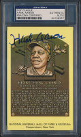 Hank Aaron Signed Gold Hall of Fame Plaque Postcard (PSA Encapsulated) at PristineAuction.com