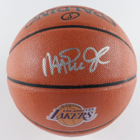 Magic Johnson Signed Lakers Logo NBA Game Ball Series Basketball (Schwartz COA) at PristineAuction.com