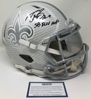 "Drew Brees Signed Saints Full-Size Authentic On-Field Hydro-Dipped Speed Helmet Inscribed ""SB XLIV MVP"" (Steiner Hologram) at PristineAuction.com"