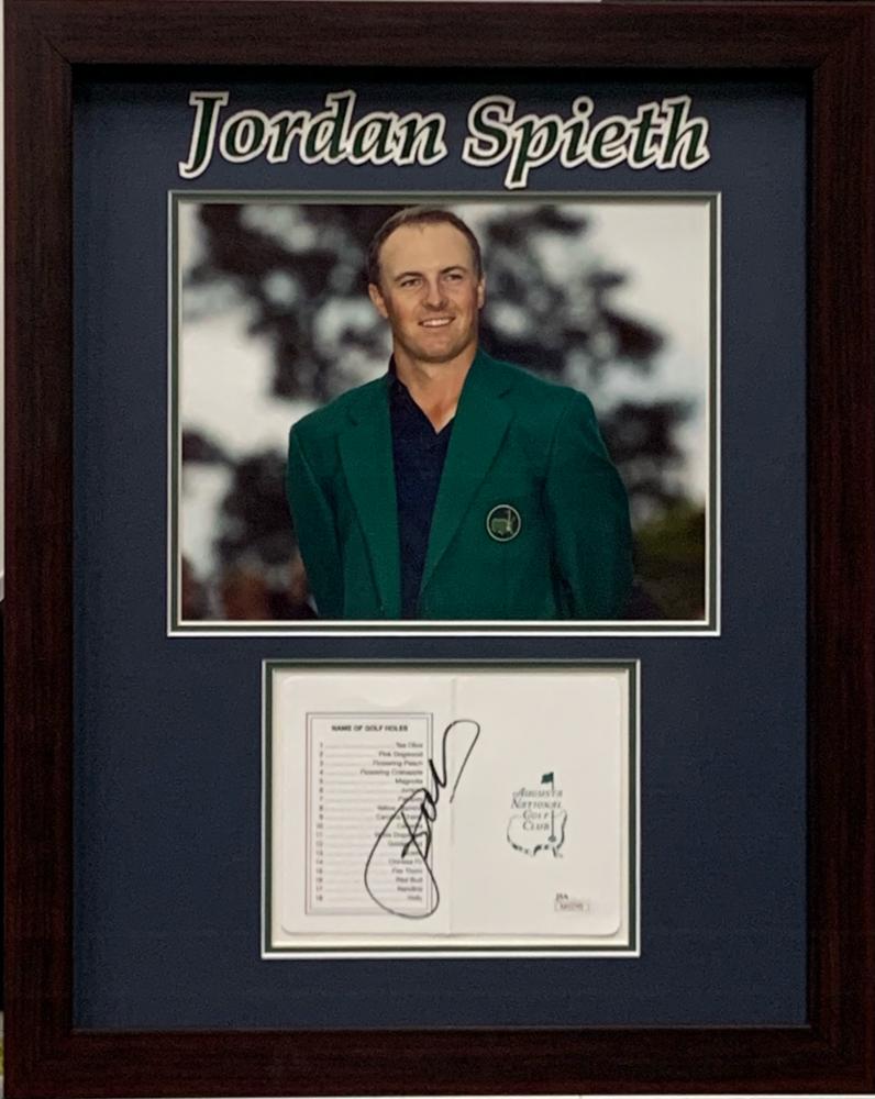 Jordan Spieth Signed Augusta National Golf Club 16x20 Custom Framed Score Card Display (JSA COA) at PristineAuction.com
