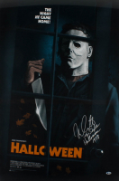 "Nick Castle Signed LE ""Halloween"" 24x36 Movie Poster Print Inscribed ""The Shape Halloween 1978"" (Beckett COA) at PristineAuction.com"