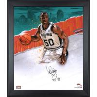 "David Robinson Signed Spurs 23.5x27.5 Custom Framed Photo Display Inscribed ""HOF 09"" (Fanatics Hologram) at PristineAuction.com"