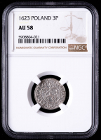 Sigismund III 1623 Poland 3 Polker Medieval Silver Coin (NGC AU58) at PristineAuction.com