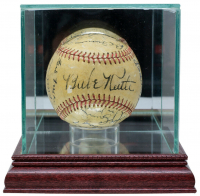 "1938 OAL Baseball In Display Case Multi-Signed by (20) With Babe Ruth, Burleigh Grimes, Billy Terry, Casey Stengel, Joe DiMaggio Inscribed ""1/29/38""  (PSA LOA) at PristineAuction.com"