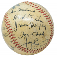 """1938 OAL Baseball In Display Case Multi-Signed by (20) With Babe Ruth, Burleigh Grimes, Billy Terry, Casey Stengel, Joe DiMaggio Inscribed """"1/29/38""""  (PSA LOA) at PristineAuction.com"""