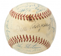 1957 Giants ONL Baseball Team-Signed by (23) with Willie Mays, Johnny Antonelli, Stu Miller, Marv Grissom, Dusty Rhodes (Beckett LOA) at PristineAuction.com