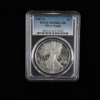 1987-S American Silver Eagle $1 One-Dollar Coin (PCGS PR69 Deep Cameo) at PristineAuction.com