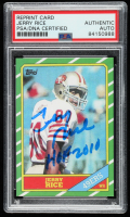 """Jerry Rice Signed 1986 Topps #161 RC Inscribed """"HOF 2010"""" (PSA Encapsulated) at PristineAuction.com"""