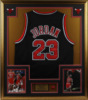 Michael Jordan 33x37 Custom Framed Jersey Display with Vintage Number 23 Pin (See Description) at PristineAuction.com