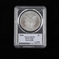 2018 American Silver Eagle $1 One Dollar Coin - First Strike - Thomas S. Cleveland Signed Label (PCGS MS70) at PristineAuction.com