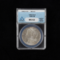1902-O Morgan Silver Dollar, VAM-28 (ANACS MS63) (Toned) at PristineAuction.com