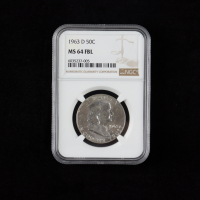 1963-D Franklin Silver Half Dollar (NGC MS64 Full Bell Line) at PristineAuction.com