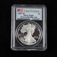 2007-W American Silver Eagle $1 One Dollar Coin - First Strike (PCGS PR70 Deep Cameo) at PristineAuction.com