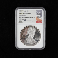 2019-W American Silver Eagle $1 One Dollar Coin - John M. Mercanti Signed Label (NGC PF69 Ultra Cameo) (Toned) at PristineAuction.com