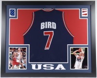 Larry Bird Signed 35x43 Custom Framed Jersey (Beckett COA) at PristineAuction.com