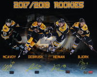 Bruins 16x20 Photo Team-Signed by (4) with Charlie McAvoy, Anders Bjork, Jake DeBrusk & Danton Heinen (YSMS COA) at PristineAuction.com