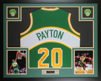 "Gary Payton Signed 35x43 Custom Framed Jersey Display Inscribed ""HOF 2013"" (PSA COA) at PristineAuction.com"