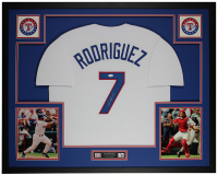 Ivan Rodriguez Signed 35x43 Custom Framed Jersey Display (JSA COA) at PristineAuction.com
