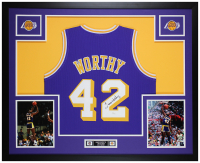 James Worthy Signed 35x43 Custom Framed Jersey Display (JSA COA) at PristineAuction.com