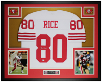 Jerry Rice Signed 35x43 Custom Framed Jersey Display (Beckett COA) at PristineAuction.com