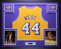 Jerry West Signed 35x43 Custom Framed Jersey Display (JSA COA) at PristineAuction.com