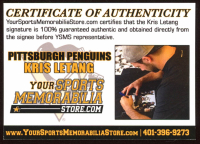Kris Letang Signed Penguins 8x10 Photo (YSMS COA & Letang Hologram) at PristineAuction.com