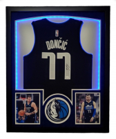Luka Doncic Signed 32x41 Custom Framed Jersey Display with LED Lights (JSA COA) at PristineAuction.com