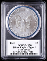 2021 American Silver Eagle $1 One Dollar Coin - First Strike, Black Label (PCGS MS70) at PristineAuction.com