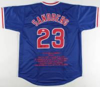 """Ryne Sandberg Signed Career Highlight Stat Jersey Inscribed """"HOF 05"""" (JSA COA) at PristineAuction.com"""