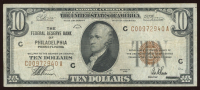 1929 $10 Ten Dollar U.S. Federal Reserve Bank Currency Brown Seal Bank Note at PristineAuction.com
