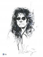 Alice Cooper Signed 8x10 Hand Painted Sketch on Fine-Art Paper (Beckett COA) at PristineAuction.com