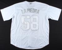 """Luis Castillo Signed Reds Jersey Inscribed """"La Piedra"""" (PSA COA) (See Description) at PristineAuction.com"""
