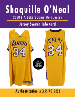 SHAQUILLE O'NEAL 2000 LAKERS GAME-WORN JERSEY MYSTERY SWATCH BOX! at PristineAuction.com